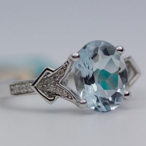 EFFY 14k White Gold Aquamarine And Diamond Ring